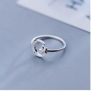 Designer Sterling Silver Moon Crescent Star Ring